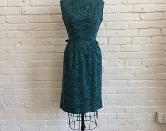 1960s Peck and Peck Dress  // 60s Teal Floral Sheath Dress // Vintage Aqua Wiggle Bows 1960s