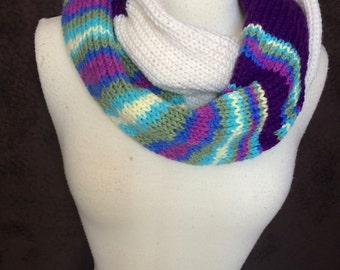 Multicolor striped scarf, Winter infinity scarf, purple scarf, white scarf