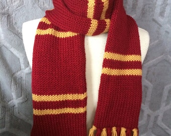 Harry Potter Scarf, Gryffindor Scarf, Hogwarts house scarves, Red and gold scarf, striped scarf, other houses too!