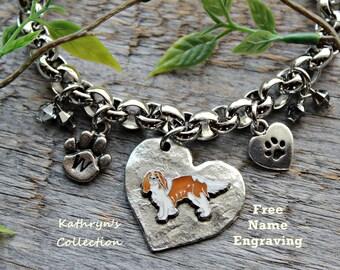 Cavalier King Charles Spaniel Bracelet, Blenheim Spaniel, King Charles Spaniel Gift, Heart Dog Jewelry, Free Name Engraving