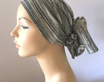 Headscarf - Salt and Pepper Gypsy Headscarf for women suffering hairloss due to cancer and or chemo therapy.  Hat for cancer patient.