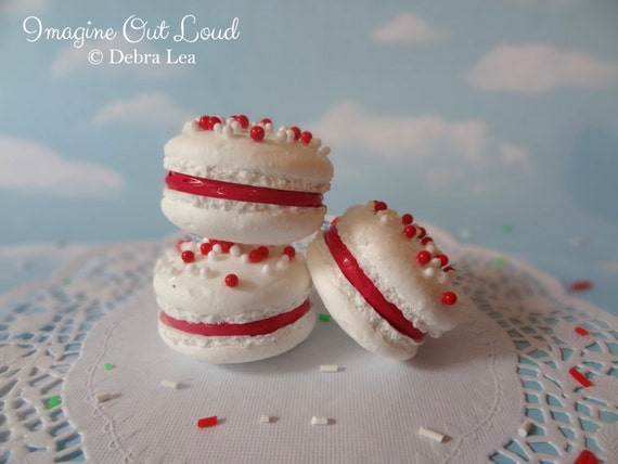 FAUX MACARON Set Candy Cane Peppermint Artificial Food Prop