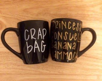 Crap Bag and Princess Consuela Banana Hammock Mug. Friends Mug. Friends tv Show Mug.