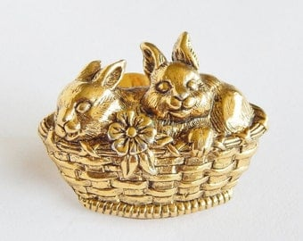 Bunnies In A Basket Pin - Sweet Brooch