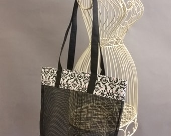 Mesh Tote. Fashionable Black and White Bag with Long Shoulder Straps. Project, Market or Beach Bag. From MDS Creative.