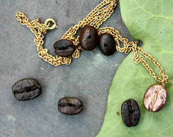 Coffee bean necklace jewelry, real electroplated coffee beans, i love coffee! copper, boho, hippie, natural, nature, electroplating,