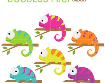 Colorful Chameleons Digital Clip Art for Scrapbooking Card Making Cupcake Toppers Paper Crafts