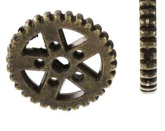 "Thick Zinc Based Alloy Steampunk Charms Pendants Gear Antique Bronze - 6/8"" Dia - Pack of 12"