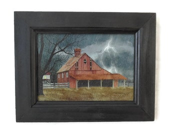 Dark and Stormy Night, Billy Jacobs, Barn, Primitive, Art Print, Country Decor, Wall Hanging, Handmade, 9x7 Custom Wood Frame,  Made in USA