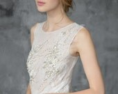 Hand embroidered tulle wedding gown, ivory wedding dress, beaded gown, volumetric skirt //Asteria