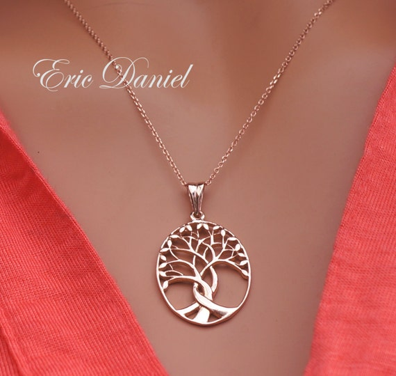 Solid Gold Tree of Life Pendant Necklace 10K 14K 18K in White