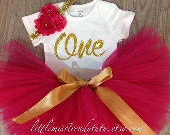 Girls First Birthday Tutu Skirt, Headband and Shirt Complete Outfit, Pink First Birthday Tutu Set, First Birthday Tutu Outfit in Pink Gold