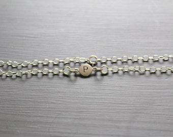 Sterling Silver Simple P Initial Bracelet, Silver Stamped P Bracelet, Stamped P Initial Bracelet, Small P Initial Bracelet, P Bracelet