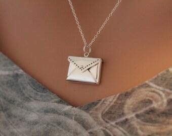 Sterling Silver Envelope Letter Locket Necklace, Envelope Locket Necklace, Letter Locket Necklace, Envelope Locket Pendant Necklace