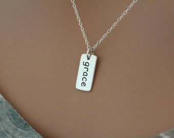 Sterling Silver Grace Charm Necklace, Grace Word Necklace, Grace Necklace, Grace Pendant Necklace, Silver Grace Necklace, Grace Word Charm