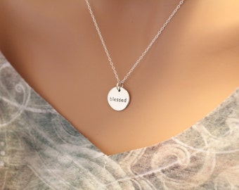 Sterling Silver Blessed Necklace, Blessed Saying Necklace, Blessed Necklace, Family Necklace, Children Necklace, Religious Necklace