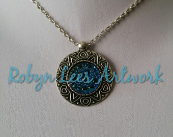 3D Blue Bubble Cabochon Necklace in Tribal Style Flower Sun with Hearts Frame on Silver Crossed Chain or Black Faux Suede Cord