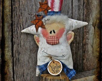 Primitive Uncle Sam Folk Art Rag Doll, Patriotic Americana Decor, OFG FAAP