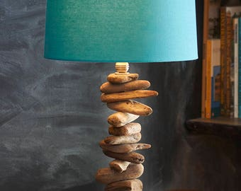 Driftwood Table Lamp hand-assembled from repurposed, nickel-plated parts and Northern California driftwood