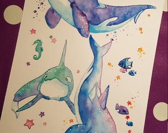 Space whales print