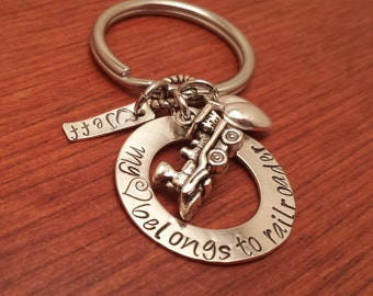 "Hand stamped personalized train worker key chain ""My (heart) belongs to a railroader""-Railroad worker's wife-Conductor's wife-Train keychain"