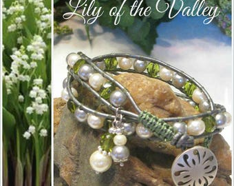 LILY-of-the-VALLEY Beaded 2x Leather Wrap Bracelet, Double Wrap, Glass Pearls & Crystals, Boho Vintage Style Handmade Jewelry, Ravengirl