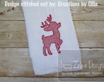 Reindeer 1 Motif filled embroidery design - reindeer embroidery design - deer embroidery design - Christmas embroidery design
