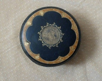 Antique leather jewellery box, boite a bijoux, navy blue, caramel, figural decoration, lovers, silk lined