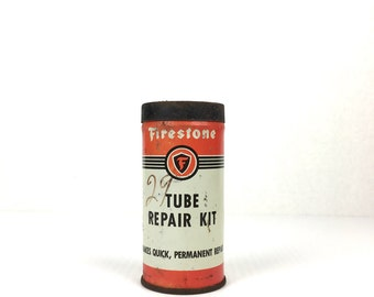 Vintage Firestone Tube Repair Kit 1940s Tire Tube Repair Kit Firestone Metal Tube Repair Patch Kit 1950s