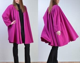 vintage 90s MAX MARA Coat | Pink Wool Swing Wrap Cape Jacket Coat | Full Swing