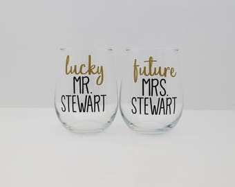 Lucky Mr. & Future Mrs. - Mr. and Mrs. Wine Glasses - Stemless Glasses - Bride and Groom Wine Glasses - Last Name Wine Glasses - Couple