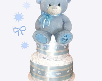My First Teddy Bear Diaper Cake - Blue