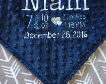 Birth Announcement Blanket, Personalized Baby Blanket, Midnight Blue and Silver Grey Arrow Minky Blanket, Keepsake Gift