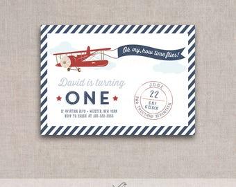Vintage Airplane Birthday Invite, Printable