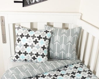 Black, grey and aqua crosses and arrows nursery set