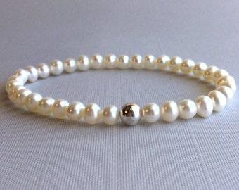 Freshwater Pearl Bracelet, Genuine Fresh Water Pearl Jewelry, Sterling Silver Bead Stretch Bracelet, Modern Dainty Pearl Bracelet
