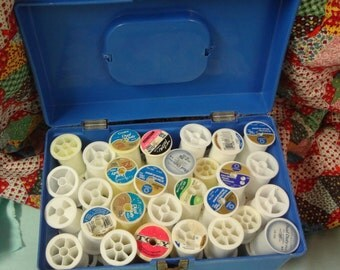 VINTAGE 1970's BLUE Plastic Box/Case Filled with Empty Plastic Thread Spools for Kitschy or Green Crafting