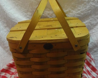 13'' SQUARE Peterboro Two Handle PICNIC BASKET