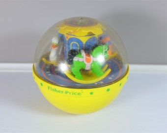 Vintage yellow Fisher Price Roly poly Chim Ball - Fisher Price ball - 60s Toddler toy - Vintage Fisher Price - Fisher Price Roly Poly Ball