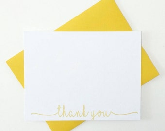 Personalized Thank You Note Cards, Blank Thank You Cards, Personalized Stationery Thank You, Wedding Thank You Cards, Paperienco Set of 12