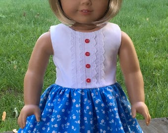 "18"" doll  blue and white flowered print dress with white bodice"