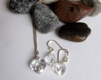 Jewelry Set - Crystal - Vintage Sterling Silver - Necklace Earring Set