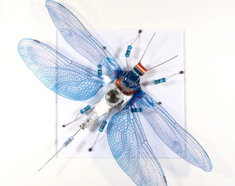 Recycled Art Framed Dragonfly Art Purple Blue Dragonfly Insect Art Dragonfly Wings Steampunk Bug Mother's Day Gift For Her Home Decor.