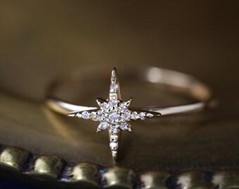 14k gold starburst diamond ring /  diamond cluster ring / delicate diamond ring / unique engagement ring / sb-r101