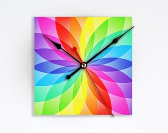 Vibrant Optical Illusion Rainbow Wall Clock Colorful Wall Decor Home Decor Colorful Aura Zen Rare Gift Handmade Gift for Hostess Houseware