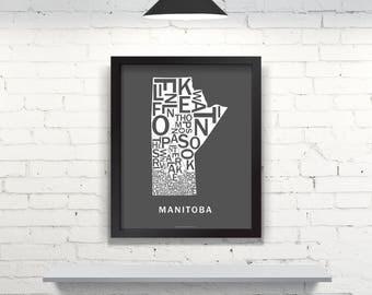 Far Sky Manitoba Typographic Map