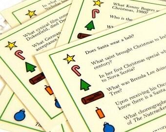 Vintage Christmas Trivia Cards. Christmas Games. Vintage Christmas. Junk Journal Supply. Scrapbook Supply. Christmas Ephemera. Flash Cards.