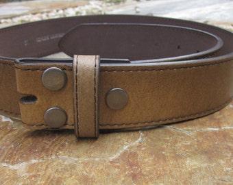Size *large 36-38 light brown / tan distressed vintage leather belt strap