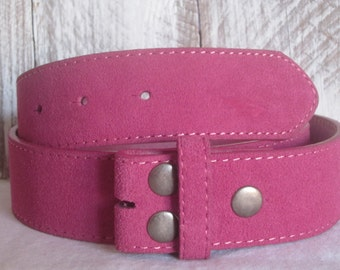 small (32)  or Medium (34 inches) Genuine Leather Pink Suede Belt Strap pink belt with snaps  Pink belt strap suede leather belt strap