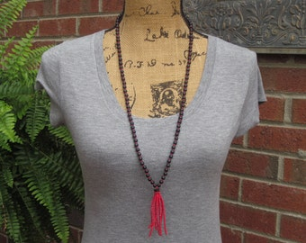 seed bead tassel necklace black stone beads red tassel necklace bohemian necklace tassel necklace long beaded necklace gift for her